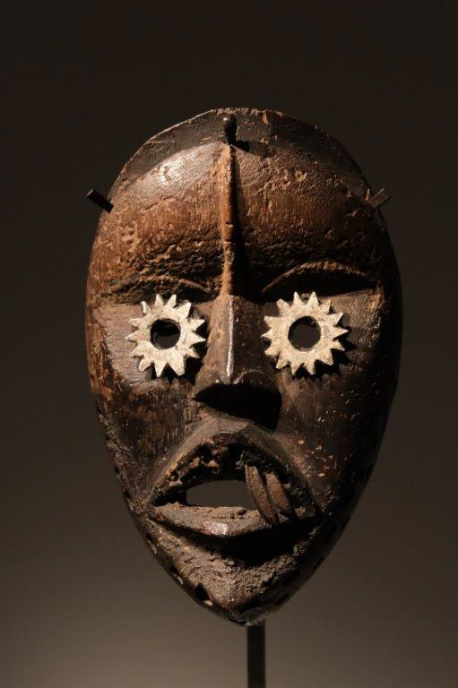 Dan Mask Ivory Coast Wood and metal H 19 centimeters, Provenance: Franco Monti Milano Italy Price 7000 euros